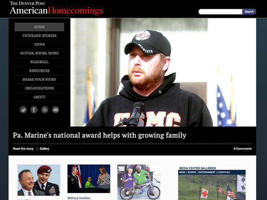 Thumbnail of the American Homecomings WordPress site