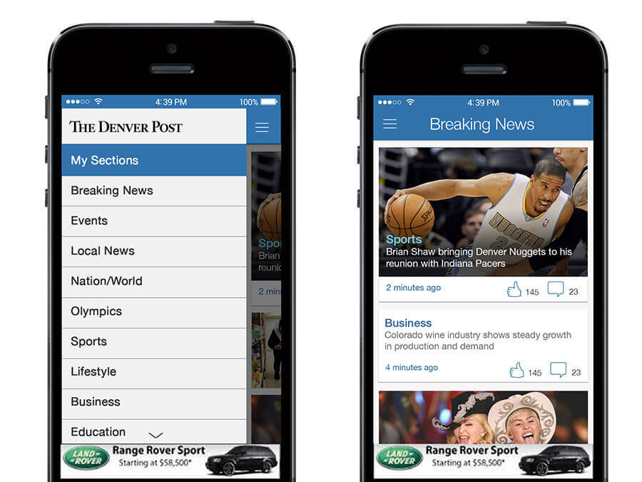 Thumbnail of the Denver Post Native iPhone app